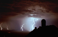 Kitt Peak observatory with lightning
