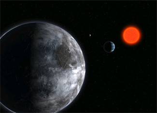 artist's impression of the planetary system around Gliese 581