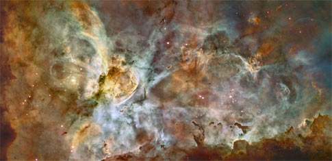 full image of the Carina nebula as seen by Hubble