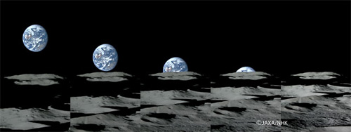 Kaguya images of the Earth setting over the Moon