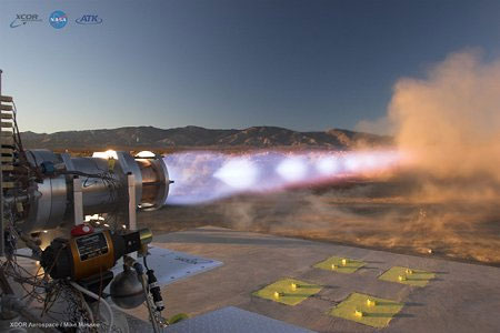 image of the NASA test firing of a methane engine