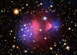 Image of the Bullet Cluster, the first direct evidence of Dark Matter