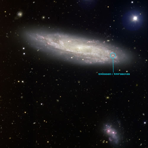 Gemini telescope image of NGC 2770 and supernova 2008D